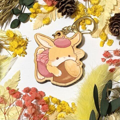 秋を楽しもうウッドキーホルダー*ウサギ*