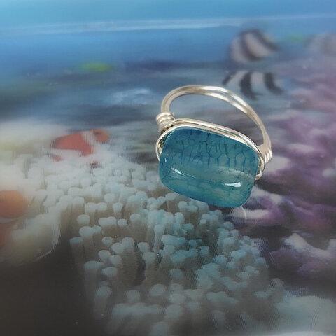 海の水 リング《ブルーアゲート》ワイヤーリング