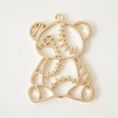 (#11-08)くまのレジンフレーム 2枚 レジン枠 ゴールド 金 カン付き チャーム