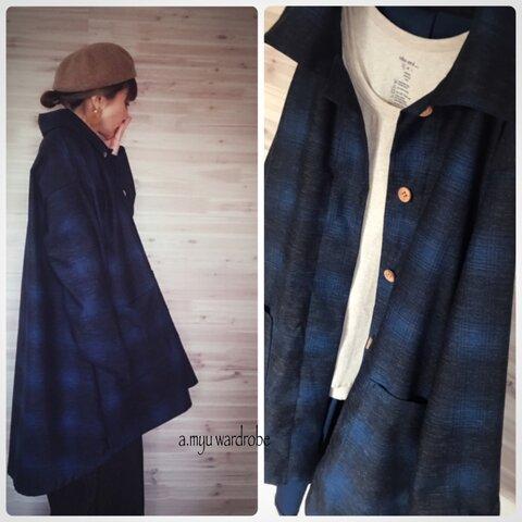 a.myu綺麗な青と黒のチェックオーバーサイズのコートジャケット