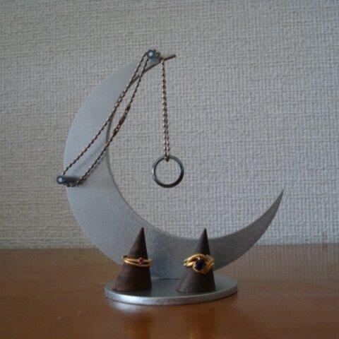 誕生日プレゼント 三日月支柱 指輪スタンド付き 121125
