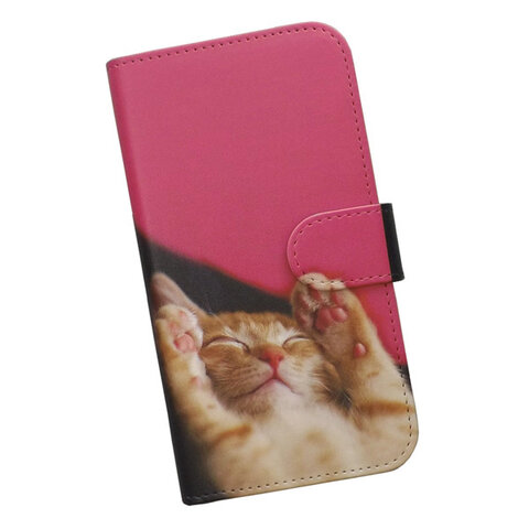 手帳型 スマホケース 全機種対応 猫 寝顔 396