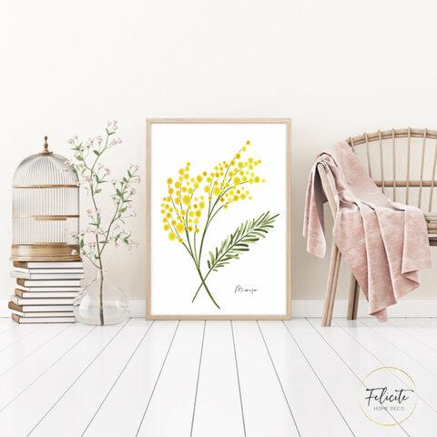 【送料無料】 mimosa /インテリアポスター アートポスターA4 (サイズアップ可) / illust0105