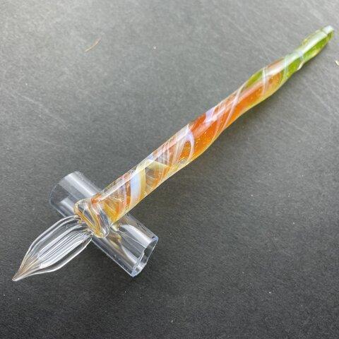 オレンジと緑のガラスペン(2)