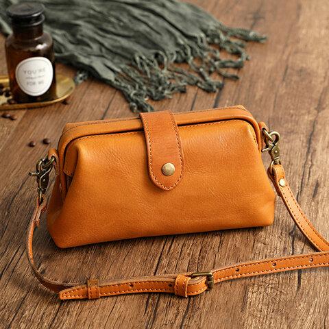ドクターバッグ 小さなハンドバッグ キャメル / 茶色