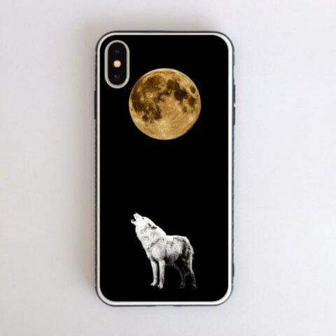 月と白銀の狼の遠吠え ver1 強化ガラス スマホケース iPhone13 も対応!