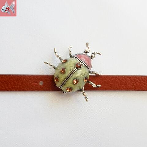 ◆テントウ虫の帯留め飾り グリーン
