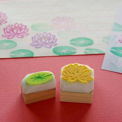 睡蓮の花と葉っぱの消しゴムはんこセット(持ち手付き)&押し方見本ミニカード