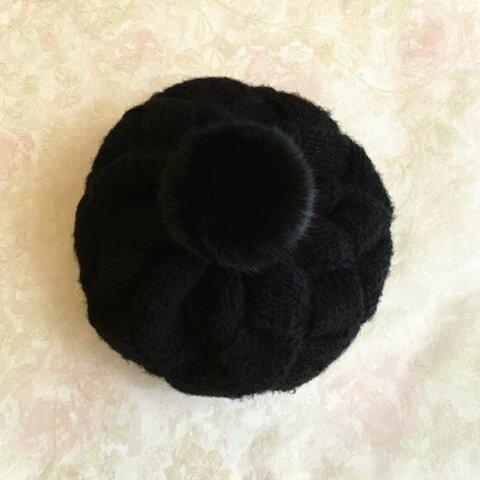 【受注生産】【Lady's】ほっこりオシャレベレー帽子 ブラック