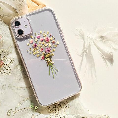 『感激・清い心・切なる願い』かすみ草・.。*・:スマホケース・.。*・: 押し花 ケース iPhoneケース /  iPhone11 /  iPhone11 Pro / iPhone 8 7