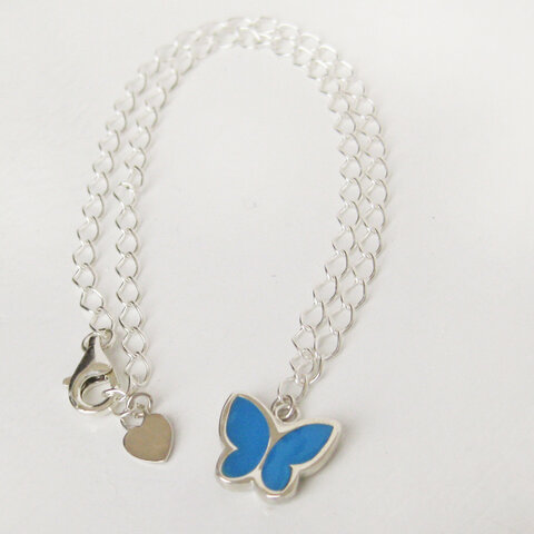 蝶のアンクレット(ターコイズブルー)