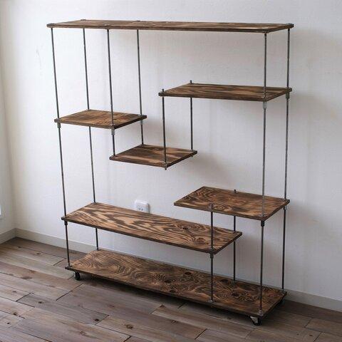 wood iron shelf 1040*910*225(アイアン 棚 シェルフ ウッド 鉄 木 収納棚 アンティーク オープンラック 両面棚 段違い棚 観葉植物)