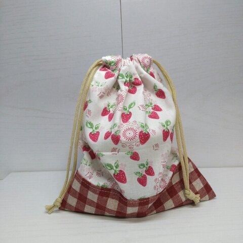 可愛いいちご柄のコップ袋 巾着 給食袋 裏地なし