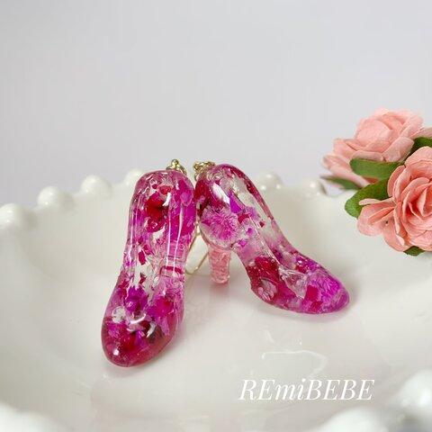 ピンクのお花*ガラスの靴ピアス(イヤリング)