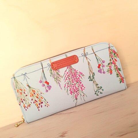 ドライフラワー♥軽い長財布🖤お花♩花束♩ナチュラル♪財布♬