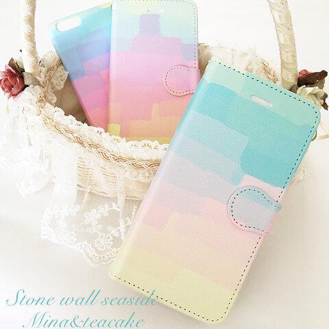 セール!iPhone7plus Stone wall seaside 手帳型スマートフォンケース