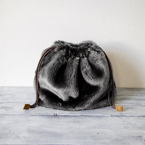 (大)巾着バッグ エコファー バッグインバッグやクリアバッグのアレンジに【グレー】