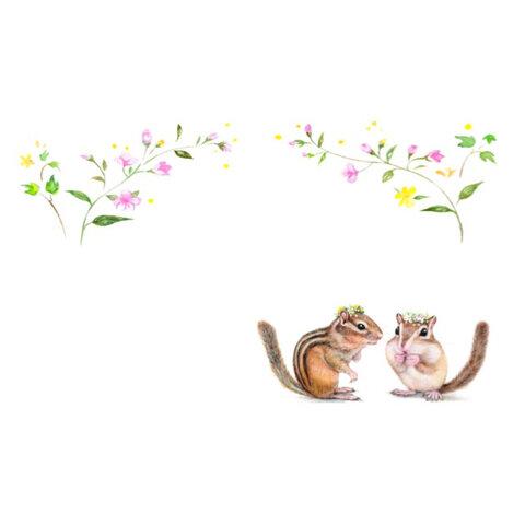 (12)リスとお花のメッセージカード
