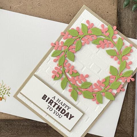 【誕生日・バースデーカード】ピンク×グリーンの組み合わせが可愛い♡リースカード♪