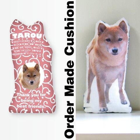 犬 猫 ペット 動物 柴犬 クッション ぬいぐるみ インテリア メモリアル プレゼント オーダーメイド 画像 写真 名前 唐草07n