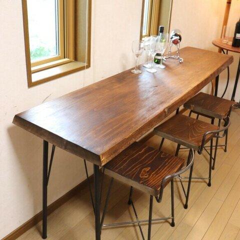 家具屋さんの目玉品 w1715ヒノキ一枚板 カウンターテーブル ダイニングテーブル お店 店舗什器 テレワーク 在宅勤務 カフェ
