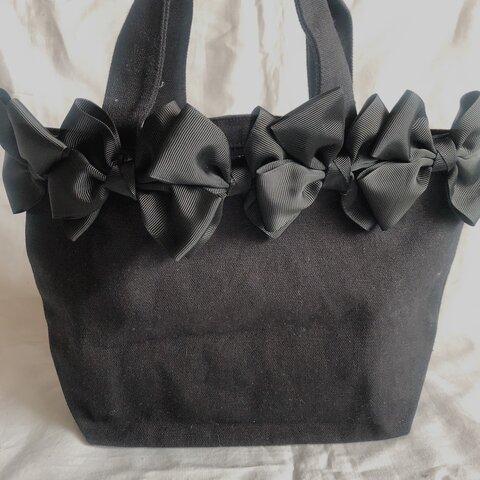 大人可愛い黒ブラックリボンバッグ♡お弁当バッグエコバッグランチバッグサブバッグプレゼントギフトにも!