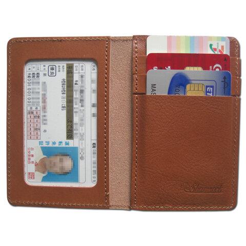 牛革.本革.二つ折り定期.免許証入れ.カードケース(キャメル)