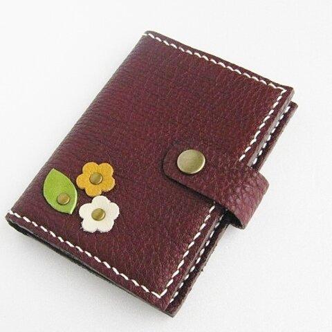 【送料無料】革 大人かわいい お花のカードケース 紫 ボルドー色  ホワイトデー
