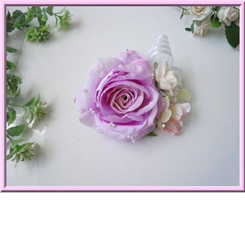 格安特価◆アートフラワー造花◆パープルローズのコサージュ*卒園式 入学式 卒業式 結婚式 二次会 式典などに ハンドメイド 紫 バラ