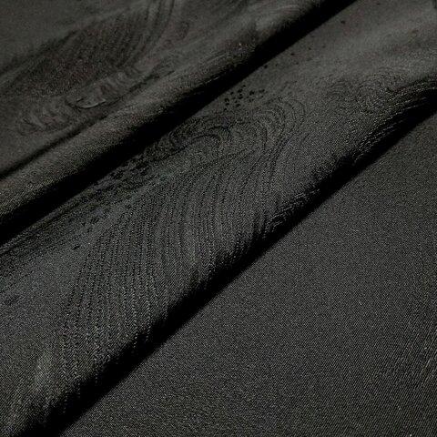 正絹 着物地 はぎれ【荒波模様織り出し】黒 50cm