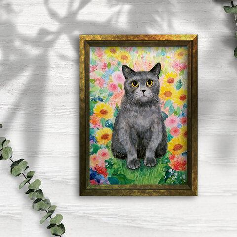 *うちの子のアートポスター*ペットさんの似顔絵*イラストオーダー*花*猫