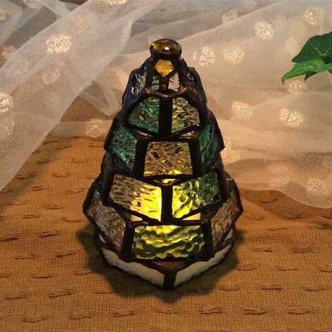 【小さなもみの木ランプ】ステンドグラス・ミニランプ(LEDライト付)