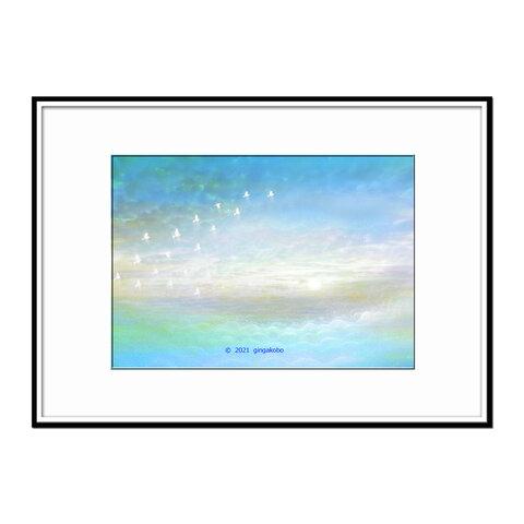 「瑣事から家出して」 雲 鳥 空 ほっこり癒しのイラストA4サイズポスター No.799