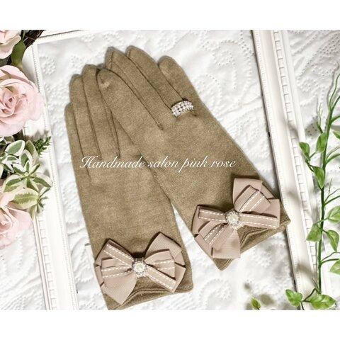 【新作】【2点限定】リボン手袋 おしゃれ手袋グローブ 大人手袋 リボン手袋グローブ 服飾雑貨 ぶわふわ手袋 プレゼント