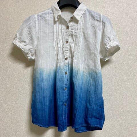 天然藍染 ブラウス シャツ