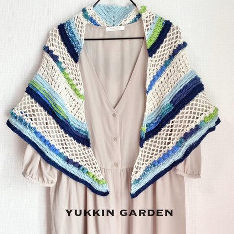 手編みの三角ストール No.3