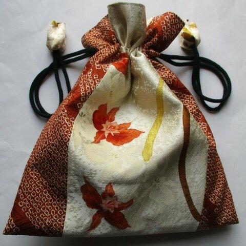 5896 絞りと花柄の訪問着で作った巾着袋 #送料無料