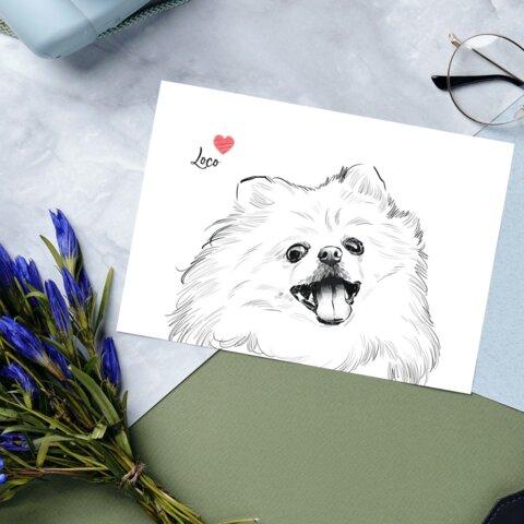 【A4ポスター/モノクロアート】uchinococo(うちのこ ペットイラスト オーダーメイド)