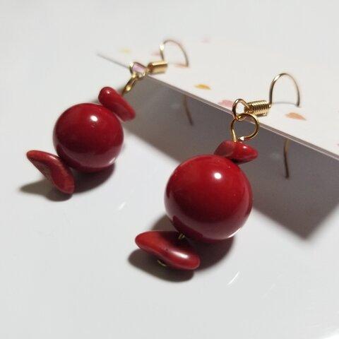 赤珊瑚 ピアス イヤリング 天然石 高品質パワーストーン  樹脂 レッド 揺れる 赤 プレゼント