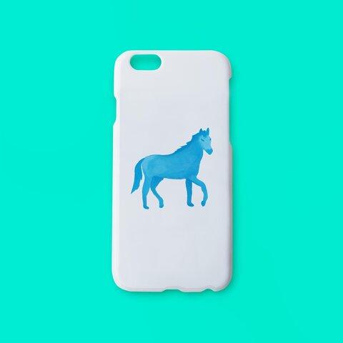 馬 ブルー  スマホケース 携帯ケース