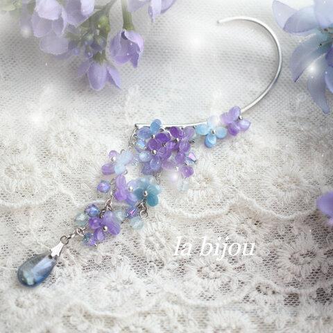 紫陽花とアクアマリンのイヤーフック