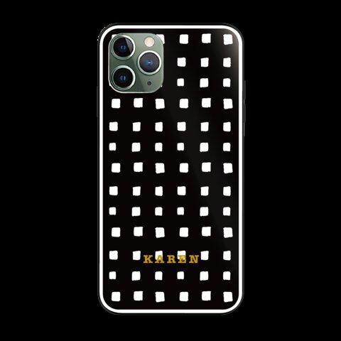 強化ガラス★★名入れ★手描きのブロックチェック/モノトーン/iPhoneケース/kg80y03