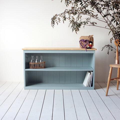 横幅120cmの大きめのキッチンバック・絵本棚・マガジンラックにも カラーセレクト可能 無垢天板