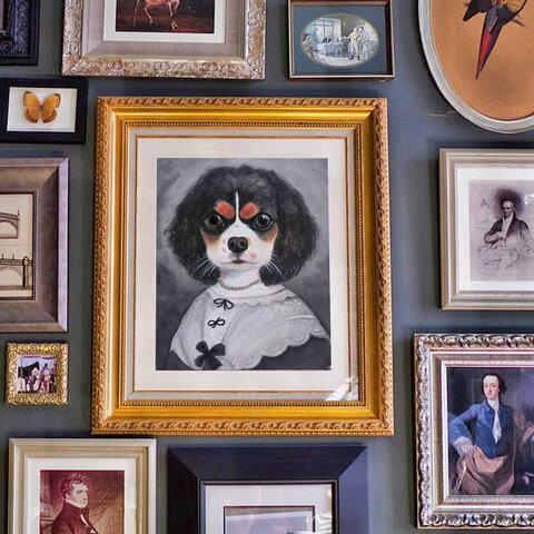うちの子の肖像画風アートポスター*ペットさんの似顔絵*イラストオーダー*犬