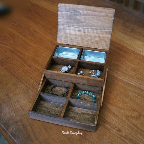 木の暖かみのあるスライドするアクセサリー収納 小物収納 アクセサリーボックス