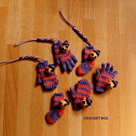 ハロウィンカラー♣ミニチュア手袋/靴下/ミトンのアクセサリー