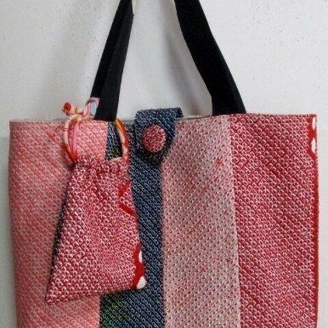 5872 絞りの羽織で作った手提げ袋 #送料無料