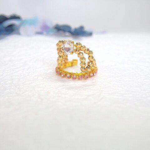 【指輪・リング】ティアラシリーズ ピンク フリーサイズ