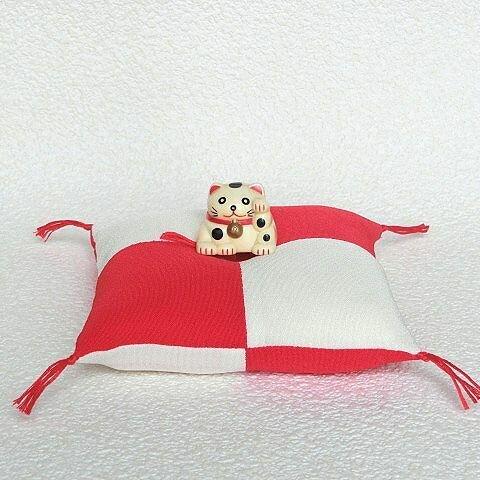 置物用お座布団 紅白めでたい しあわせ仕上げ 正絹