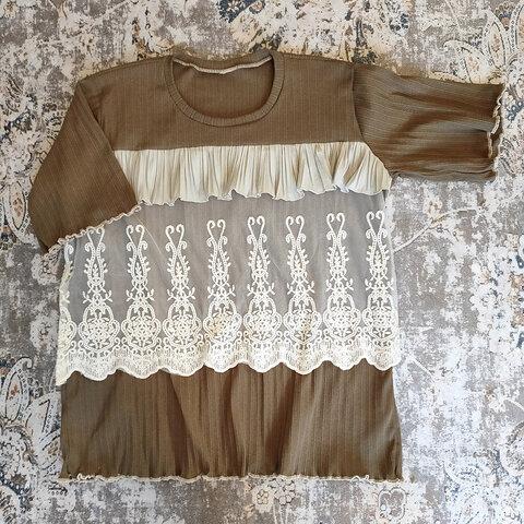 ⚡️Mother's made⚡️リメイクブラウンレース&プリーツTシャツ
